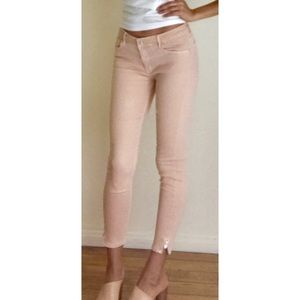 Stretchy light pink jeans